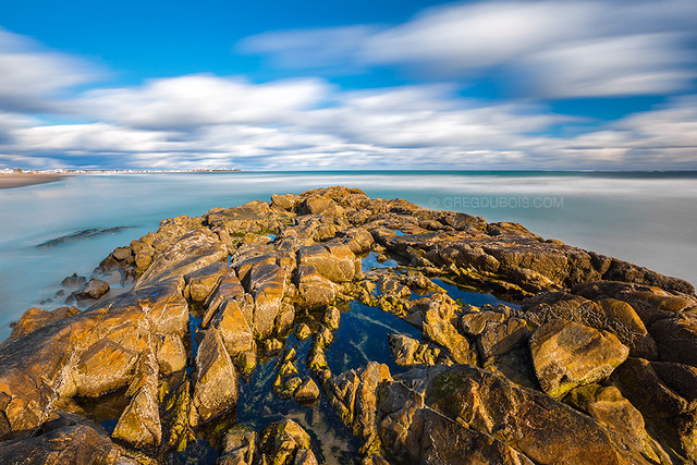 Daytime Long Exposure Seascape with Clouds over Tide Pools, Hampton Beach State Park New Hampshire