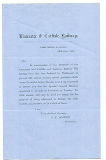 Lancaster & Carlisle Railway Notice of Special meeting  1857 | by ian.dinmore