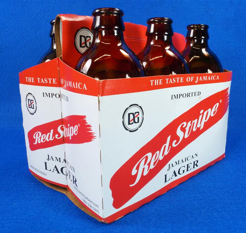 RD14201 6 Red Stripe 12 oz Brown Stubby Beer Bottles in Original 6 Pack Carton DSC05346