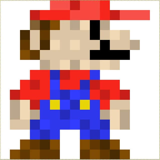 Pixel Art Made In GIMP Of Mario From Super