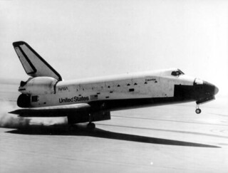 Columbia space shuttle landing at Edwards Air Force Base in California