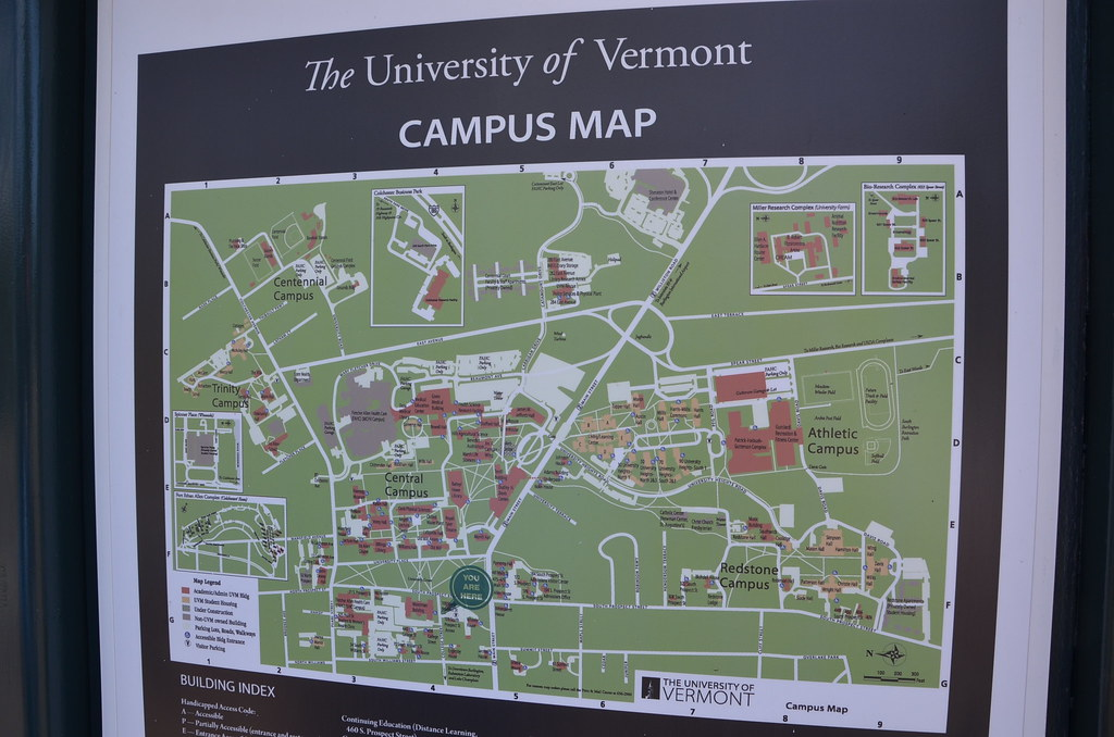 university of vermont map Uvm Campus Map The University Of Vermont Burlington Vt Adam university of vermont map