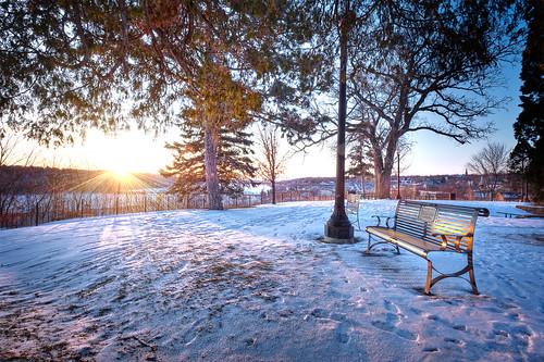park trees winter snow minnesota sunrise bench stillwater