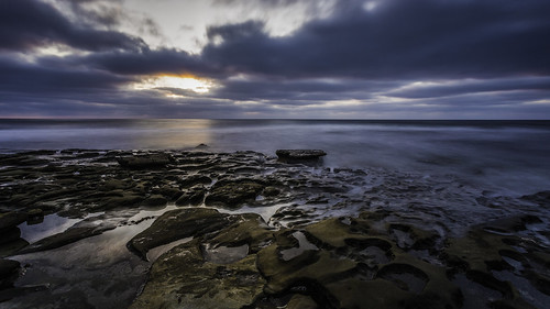 sunset nd exposure long pools tide potholes rocky color seascape clouds