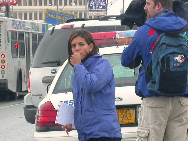Megan Baldino of Channel 2 News (KTUU-TV) at the scene of