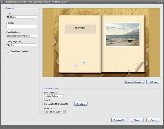 Uploading a gallery in Adobe Photoshop Elements 5