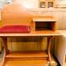 Oak and wine fabric telephone table E35