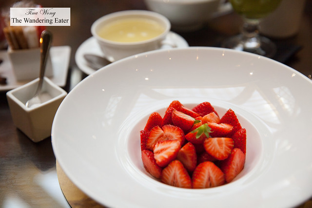 Fresh strawberries and sugar