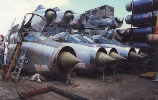 8 English Electric Lightnings in Portsmouth Scrapyard