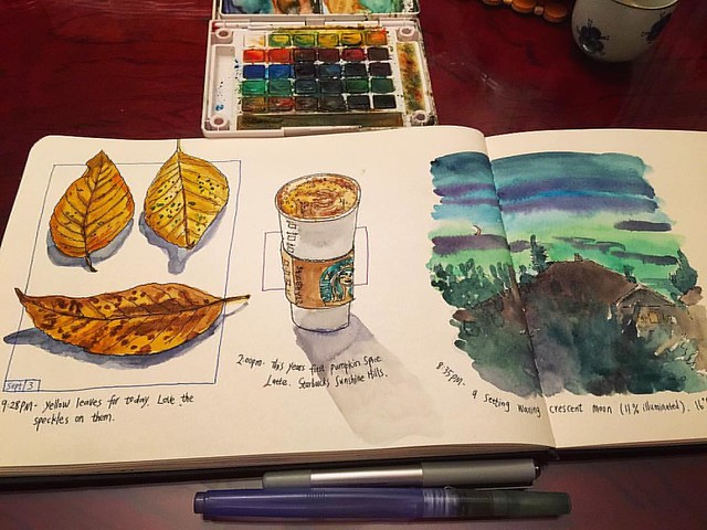 Autumn visual journals: fallen leaves from my neighborhood street🍂, my first pumpkin spice latte of the year at Starbucks; ☕️ a quick 10-min sketch of the setting waxing crescent moon outside the window.🌒 ☺️:a