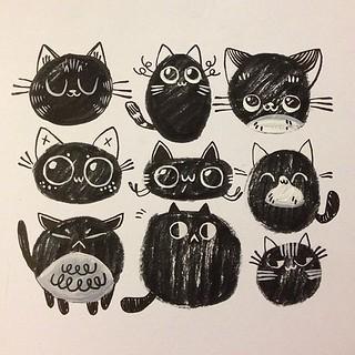 Super silly doodle cats! #sketch #pattern   by LindsayJuneNohl