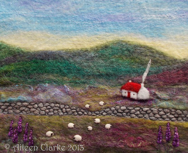 Red Roofed Cottage and Sheep