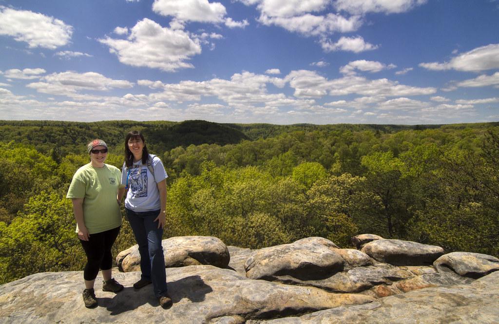 Twin Arches overlook, Brianna Zuber, Katherine Medlock, Big South Fork NRRA, Scott Co, TN