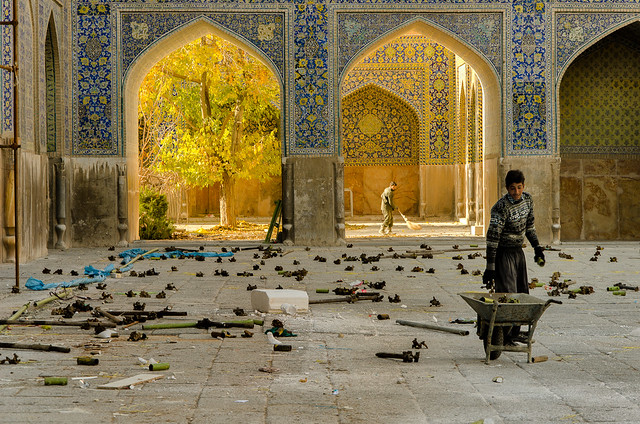 Cleaning Up After the Big Event (Imam Mosque, Esfahan)