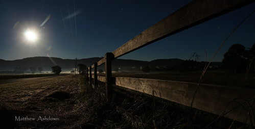 new morning blue light panorama moon mountains up grass fog wales night rural fence landscape early stream long exposure stitch 5 farm sony south side country sydney australia panoramic glad full strip hour nsw western got outer alpha setting today moonset penrith nex castlereagh