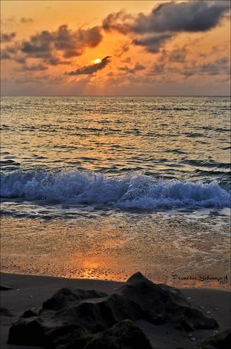 sun seascape beach water clouds sunrise landscape rocks waves florida rivierabeachfl nikond5100 coralreefparkbeach