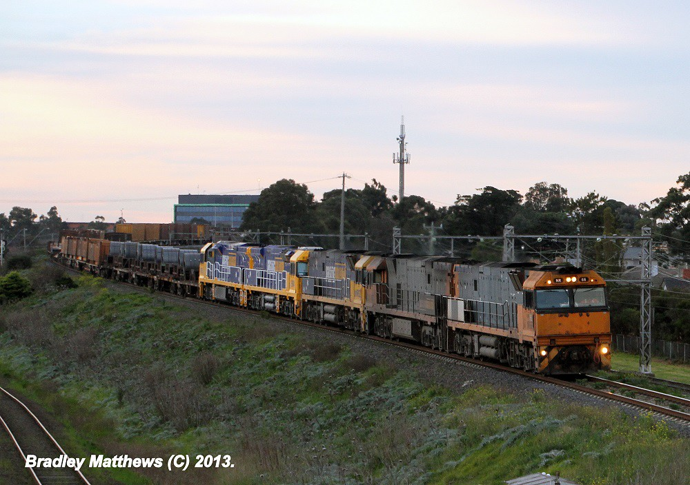 NR66-NR72-NR92-9304-9303 on 1WX2 Steel Train to Melbourne (later to Port Augusta/Wyhalla) at Jacana (13/8/2012) by Bradley Matthews