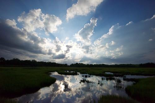 reflection barnegatbaywildlife upperbarnegatbaywildlife nj waretown sky cloud sunbeam oceancounty reflections