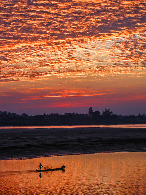 Mekong River sunset, Vientiane, Laos
