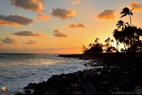 koloa hawaii unitedstates poipu kauai sunset ocean coast coastline shoreline evening tropical island destination vacation lava rock palm tree colors clouds beautiful setting natural relaxing scenic photography etbtsy