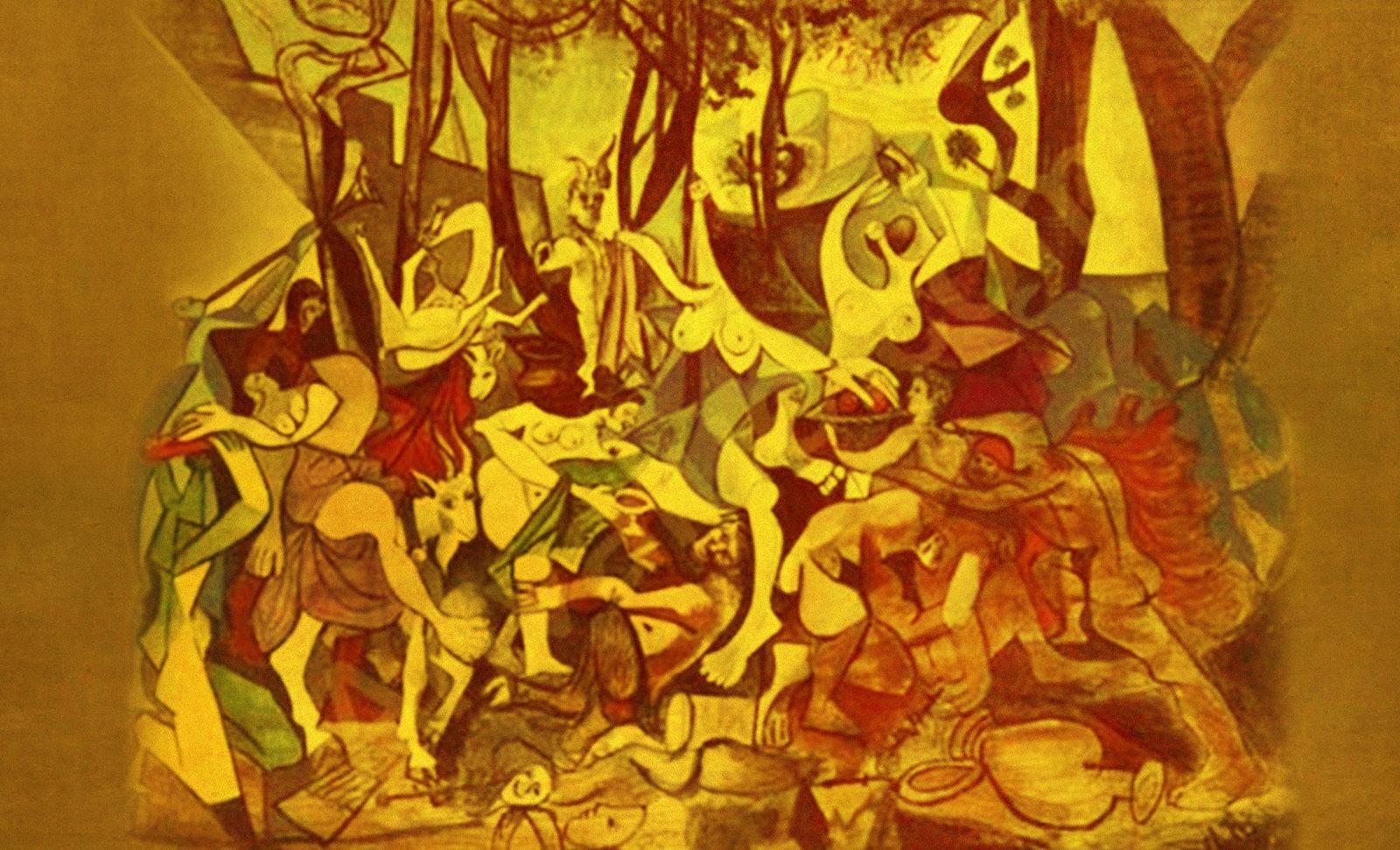 Bacanal, armonización de Nicolas Poussin (1632), versiones y encuadres de Pablo Picasso (1957).