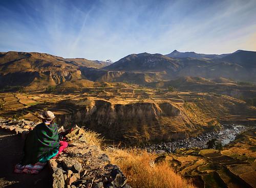 colca landscape mountain people peru river sunny travel woman arequipa pe