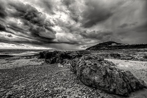 europe wales welsh cymru swansea mumbles gower storm seaside sea rain clouds stormy weather autumn britain monochrome blackandwhite