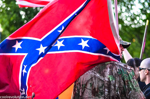 White Supremacist with Confederate Flag