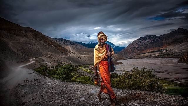 Nepal, Upper Mustang - An Indian Sadhu on the way to the temple of Muktinath.