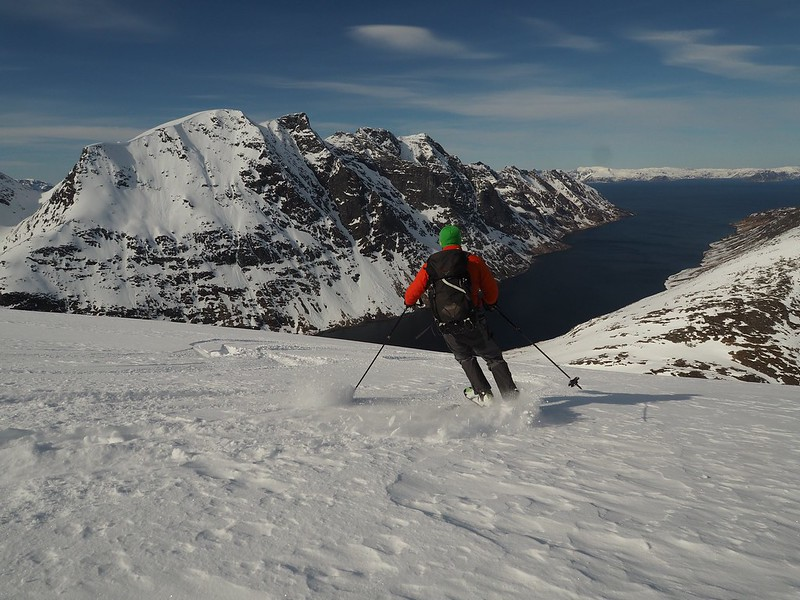 Deep fjords provide calm anchorages for our boat.  Skier: Ray Allwood