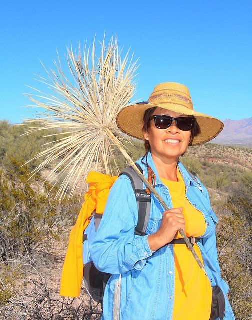 Enriqueta with a dry Soaptree Yucca top, Pink Tank, San Pedro River Valley, AZ