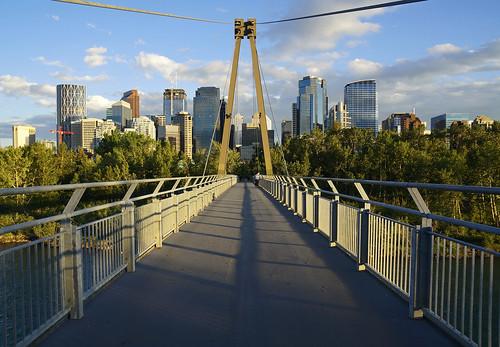 calgary alberta canada sunnyside princesislandbridge princesisland bowriver skyscrapers highrises downtown bridge princesislandpark footbridge