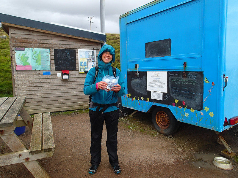 Wed, 2016-09-21 18:22 - It was a long day for us; we left the carpark at 7:30am before the tea van was open and came back after it had been closed (18:20) and in rain, primarily because we had waited for 4 hours for the tide to recede at the base before the climb.  I suspect the show owner/keeper thought we were having a hard time, spending hours on/to the route, and left a small gift for us. How sweet!!  Note we left the climbing guidebook on the dashboard of the car, and so it was obvious we were climbers.