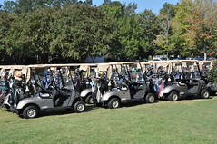 Golf carts waiting.