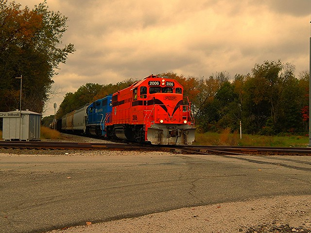 South Shore freight hitting the CN diamonds at Stillwell Indiana