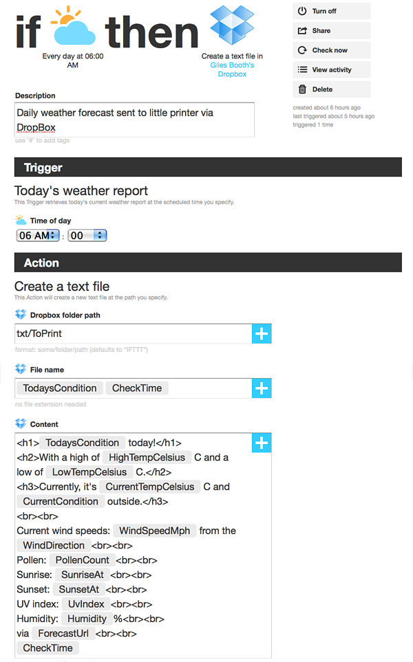 Using IFTTT to print daily weather forecast on my little p