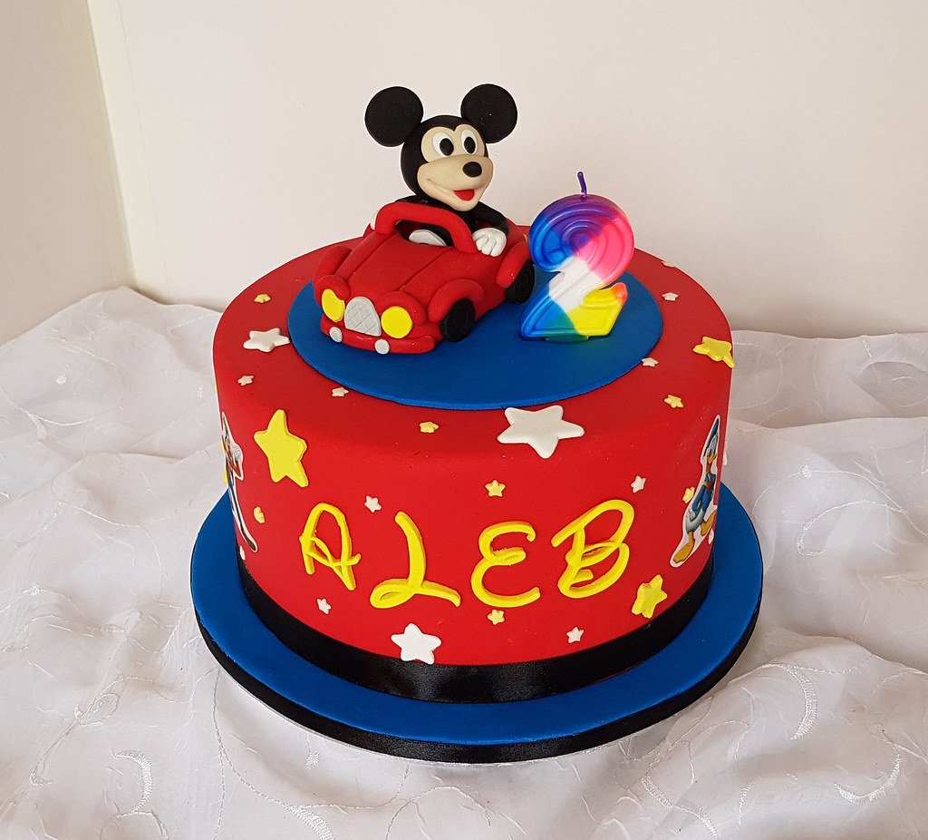 Mickey Mouse with car themed 2nd birthday cake | Willi