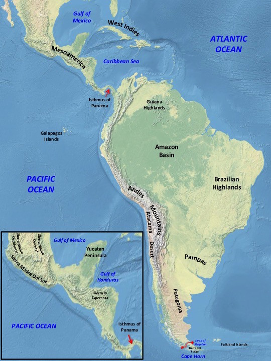 Americas - South & Mesoamerica Map | General Map of Meso and ...