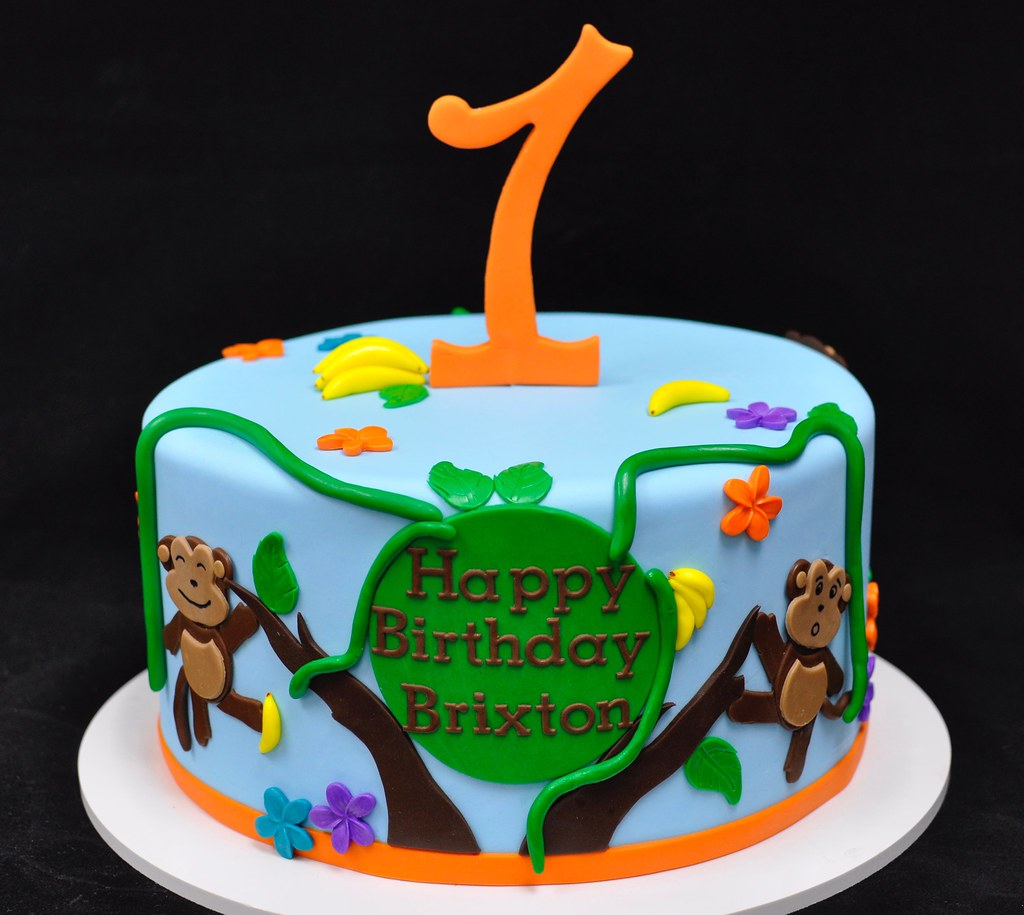 Fantastic Monkey First Birthday Cake Jenny Wenny Flickr Funny Birthday Cards Online Alyptdamsfinfo