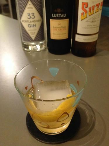 White Negroni variation with 33 Portland dry gin, Suze, and Lustau amontillado sherry | by *FrogPrincesse*