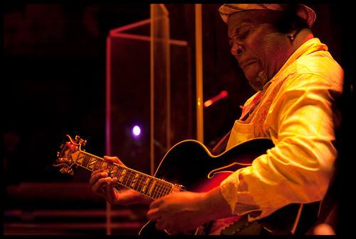 Guitarist for Ike Stubblefield  at WWOZ's Piano Night.  Photo by Ryan Hodgson-Rigsbee www.rhrphoto.com