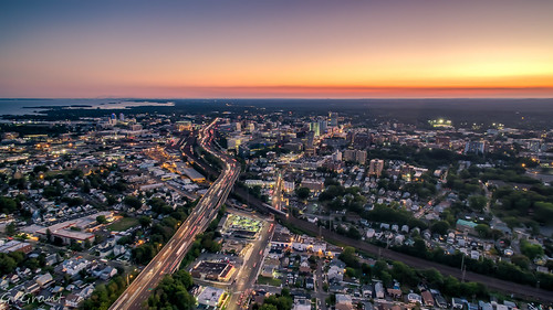 stamford connecticut unitedstates us stamfordconnecticut djiphantom3 drone aerialphotography aerialview hdr birdseyeview sunset dusk wideangle landscape aeriallandscape