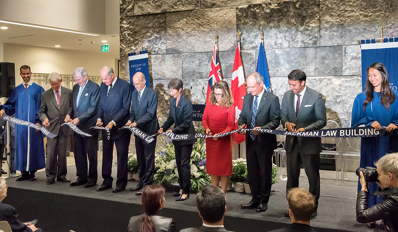 """On September 29, 2016, members of the University of Toronto community gathered to celebrate the official opening of the new Jackman Law Building.  With alumnus Hal Jackman as the catalyst, more than 600 alumni contributed more than three-quarters of the $34.5 million raised for the project.  Located only a stone's throw away from Queen's Park and the Ontario legislature, the building's award-winning architectural design symbolizes much more than prestigious new office space and classrooms for law students and faculty.  """"For too long, our Faculty of Law has operated in a physical environment that did not fully reflect its excellence and stature as one of the world's best law schools,"""" President Meric Gertler said. """"The Jackman Law Building provides a cutting-edge environment designed to support the excellence of the faculty, staff and students who work and study here.""""  All photos by Lisa Sakulensky."""