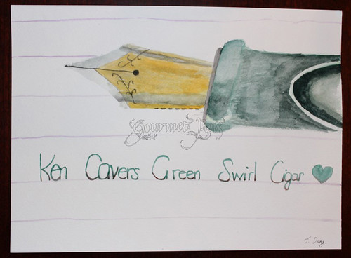 Ken Cavers Green Swirl Cigar Painting by Tiffany | by GourmetPens