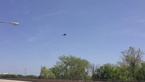 Filming Helicopter over the Theodore Roosevelt Bridge - Circling Overhead