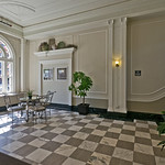 Lobby look we love: black and white vintage tiling.
