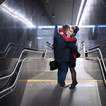 Couple at a metro station, Warsaw (Poland)
