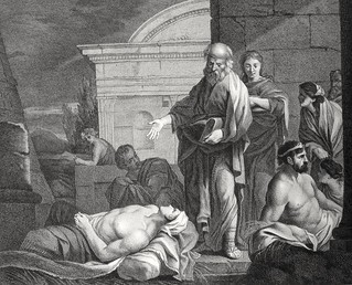 Luke in the Phillip Medhurst Collection 608 The sick are brought into the street Acts 5:15-16 after Sebastian Bowdon