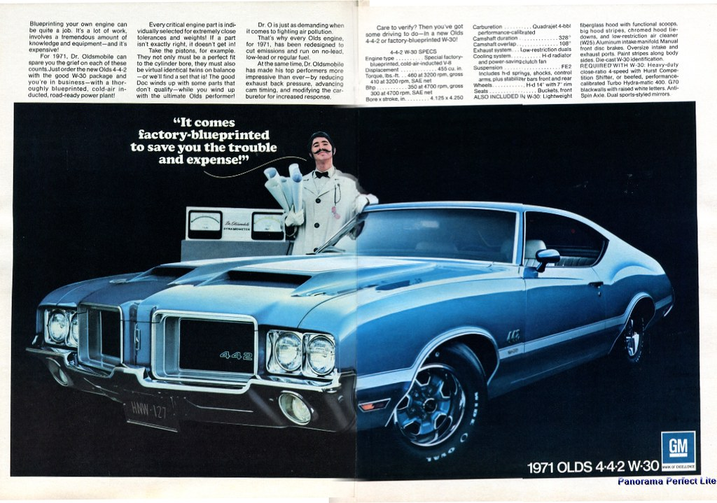 1971 Oldsmobile 442 W30 Advertising Stitched Hot Rod Magaz