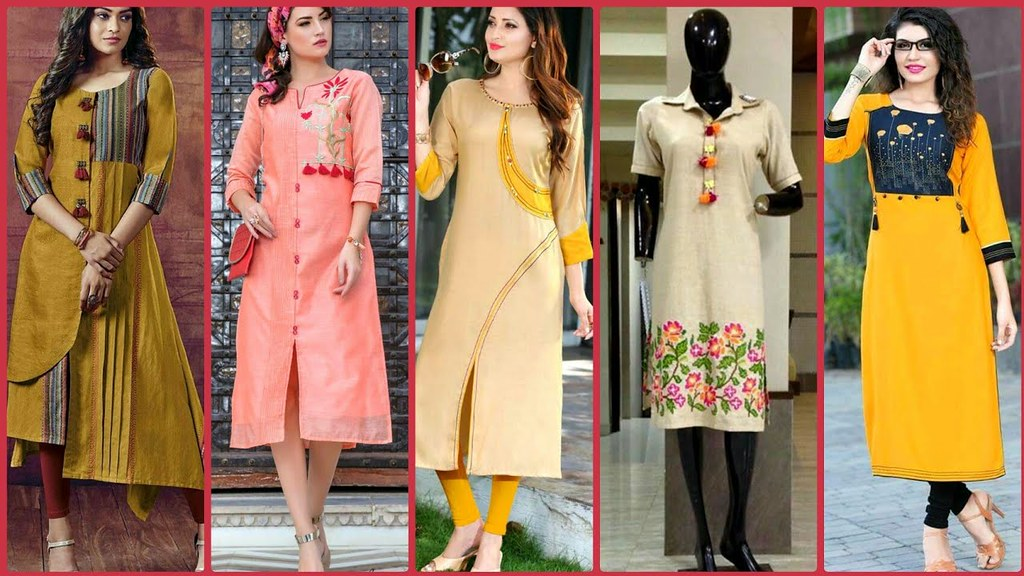 Daily Wear Plain Kurta Kurti Designs For Girls/Latest High ...